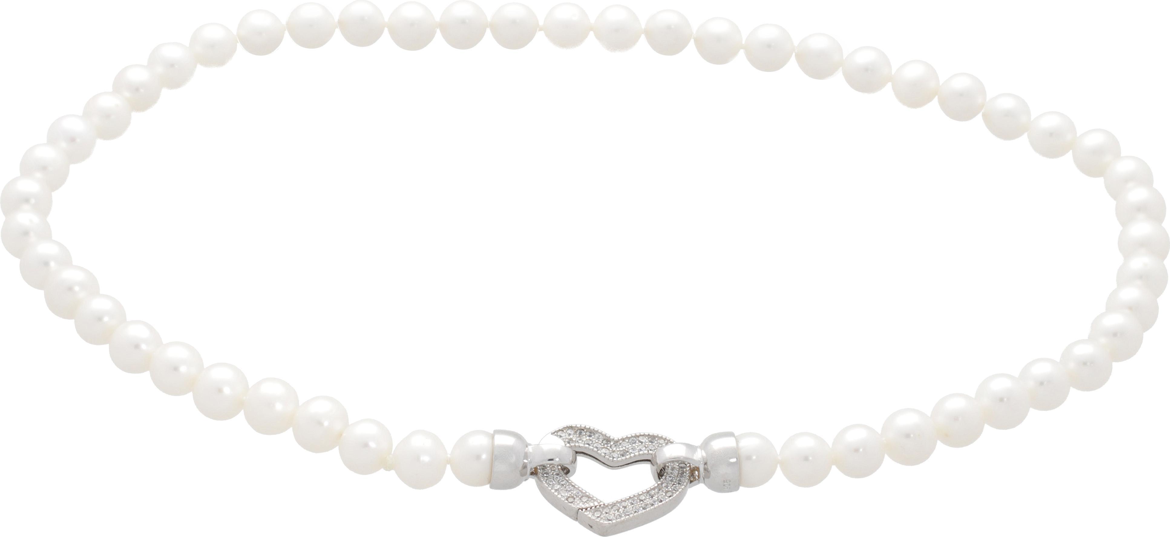 Moonpearls Carine - náhrdelník z pravých bílých říčních perel Délka náhrdelníku 41,5 cm, počet perel 52